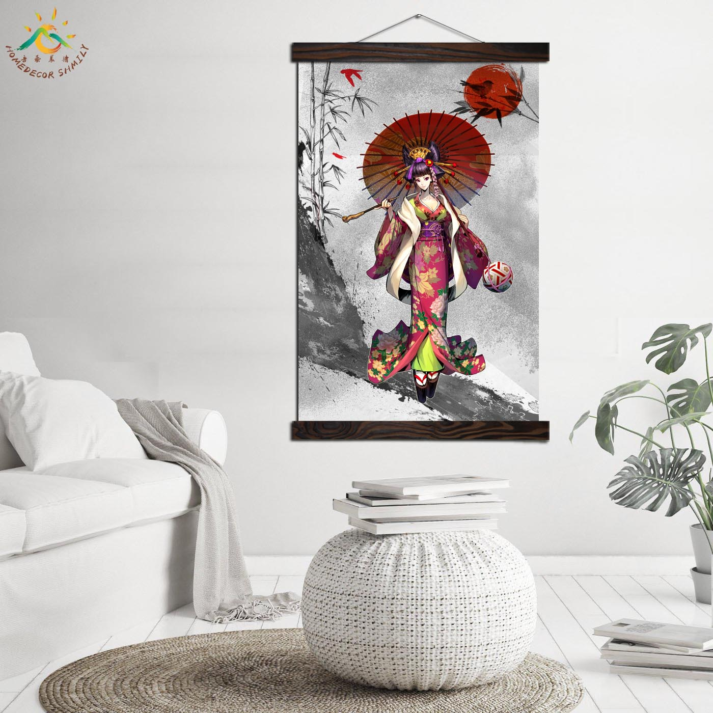 Japanese Kimono Cartoon Girl Vintage Posters and Prints Scroll Painting Canvas Art Modern Wall Pictures Painting Home Decoration in Painting Calligraphy from Home Garden