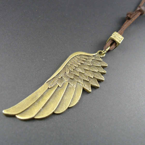 2014 New arrival handmade vintage anioł skrzydło długie skórzane wisiorki naszyjniki mężczyzn biżuteria kobiet