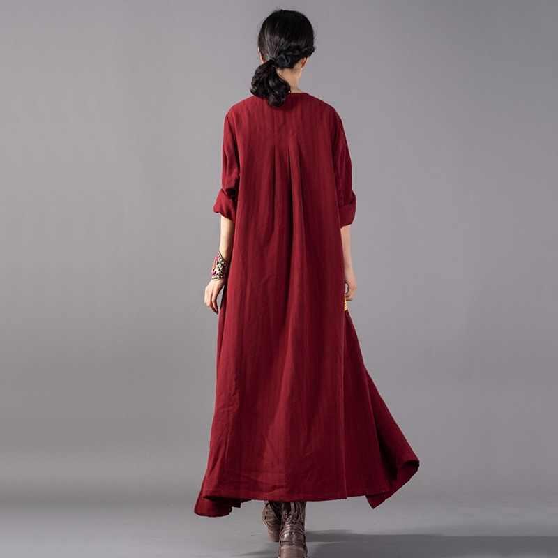 Китайская одежда Блузки женские 2019 длинная рубашка вышивка традиционная китайская одежда туника аозай черный халат для медитации TA957