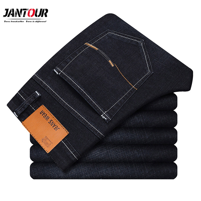 2019 new   Jeans   Men Straight Fit Pants Classic   Jeans   Mens Denim Elasticity Fashion cotton Trousers Male Casual Straight Black Pan