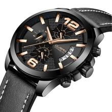 CUENA Men Watches Analog Quartz Wrist Watch Stopwatch Luminous Hands Leather Strap 30M Waterproof Wristwatches Relogio Masculino все цены