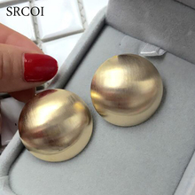 SRCOI New Fashion Round Geometric Zinc Alloy Earrings Shining Scrub Metal Stud Earrings Women Statement Jewelry Bijoux Femme