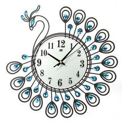 Модные висячий подарок Art Роскошный Металлический настенные часы для дома Гостиная кварцевые украшение в виде павлина Тихая офис