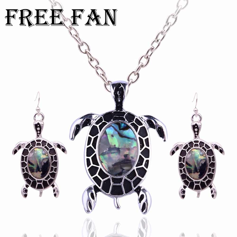Free Fan Cute Shell Turtle Jewelry Set For Women Antique Costume Love Animal Boho Jewelry Necklace Set Kids Jewellery Gift