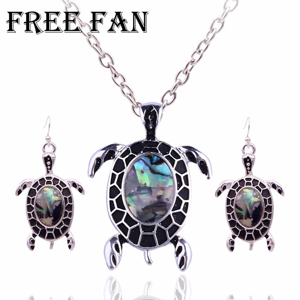 Free Fan Cute Shell Turtle Jewelry Set For Women Antique Costume Love Animal Boho Jewelry Necklace Set Kids Jewellery Gift