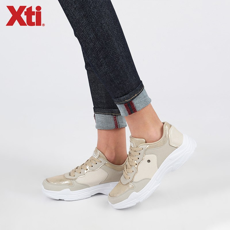 XTI Golden/Gray Woman Low-cut Fashion Optimistic Casual Sports Shoes