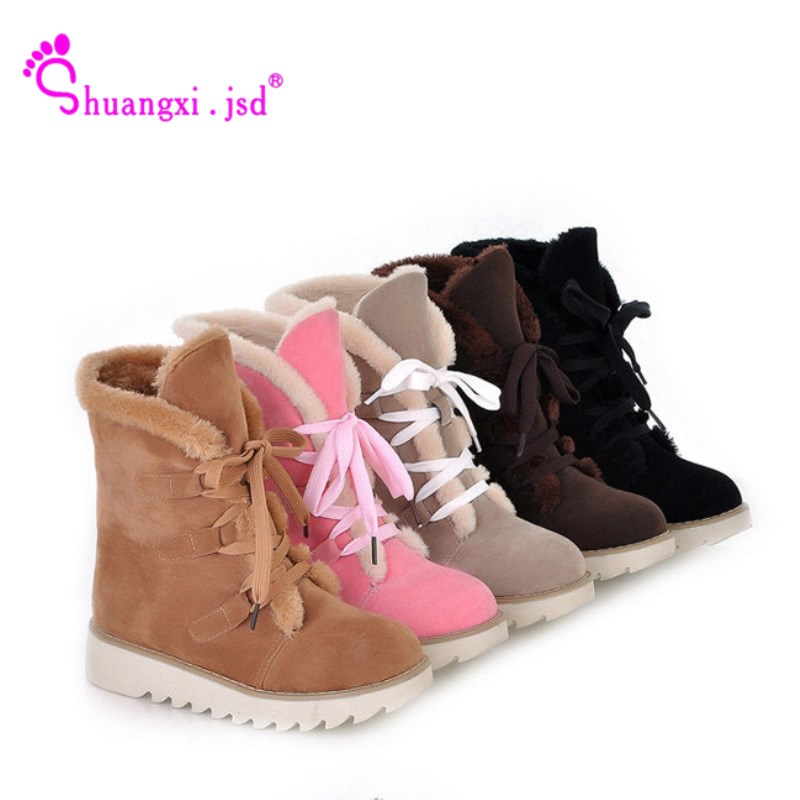 New Fashion Sklfcxzy New Arrival Winter Ladies Plush Snow Boots Flat Comfortable Thermal Boots Warm Women Shoes Large Size 34-46 Modern And Elegant In Fashion Functional Bags