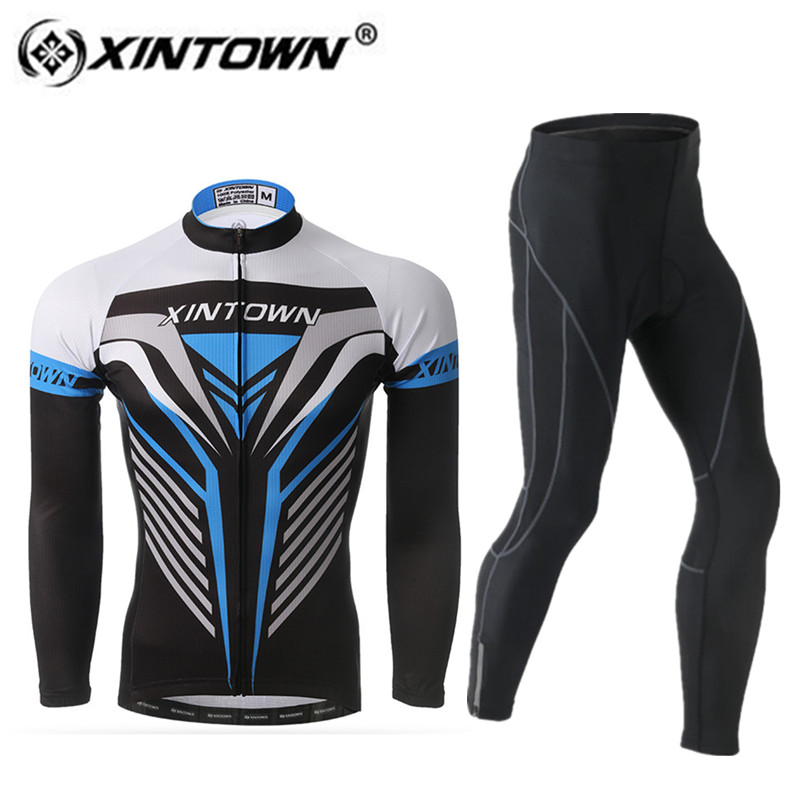 XINTOWN Spring Long Sleeve winter Cycling Jersey Set Bicycle Clothing Full Zipper Bike Suits Pro Riding Outdoor men Sportwear