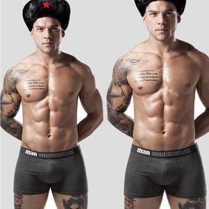 Image 3 - 4 teile/los Männlichen Boxer Unterwäsche Männer Baumwolle Mann Boxershort Atmungsaktive Feste Flexible Shorts Boxer Unterhose Herren Höschen