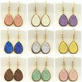 2016 Hot Selling Mini Teardrop Faux Druzy Earrings for Women Gold Fashion Water Drop Earrings Popular Women Jewelry