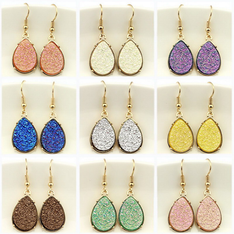 9 Colors 2018 Resin Druzy Teardrop Earrings for Women Gold Fashion Water Drop Statement Drusy Earrings Popular Jewelry Wholesale