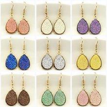 9 Colors 2018 Resin Druzy Teardrop Earrings for Women Gold Fashion Water Drop Statement Drusy Earrings Popular Jewelry Wholesale