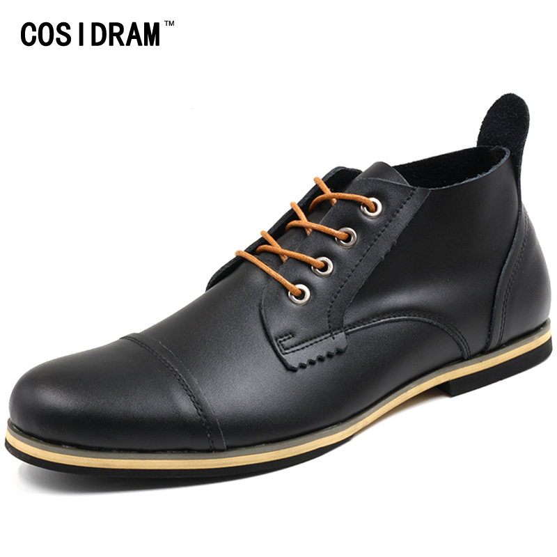 COSIDRAM Plus Size 47 Men Boots Genuine Leather High Top Men Shoes Fashion Ankle Boots For