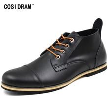 Cosidram плюс Размеры 47 Мужские Ботинки Натуральная кожа высокие Мужская обувь Модные ботыльоны для Мужская зимняя обувь мужские Botas RMC-082