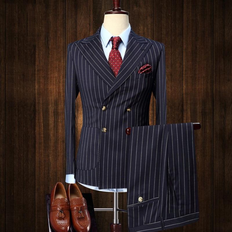 Men High-end Double-breasted Slim Fit Stripe Blue Coat Vest Pants Suits Wedding