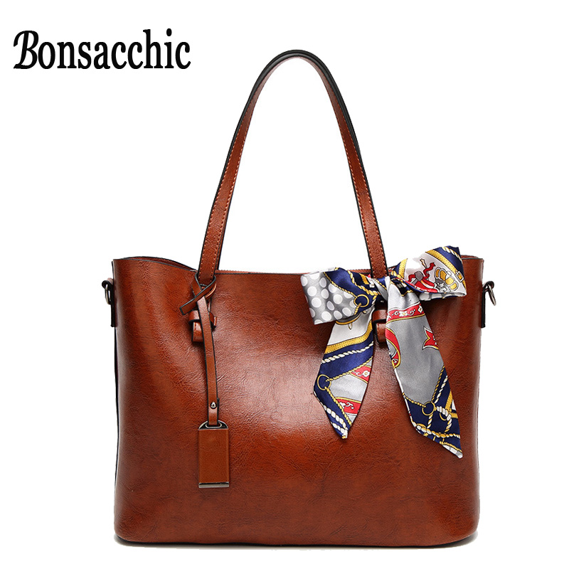 Bonsacchic 2017 New Ladies Hand Bags Women Leather Handbags Brown Tote Handbag for Women Shoulder Bag with Scarves bolsos mujer new 100% handmade woven leather handbags tote women shoulder bags with detachable zipper pouch