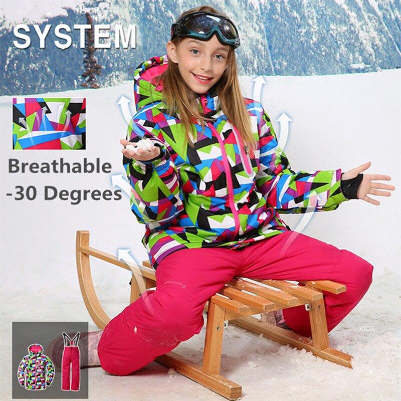 Prix pour -30 Degrés Filles Enfants Enfants Ski Veste + Pantalon Snowboard costume pour les Filles D'hiver En Plein Air Thermique Ski Ensemble Manteau et pantalon