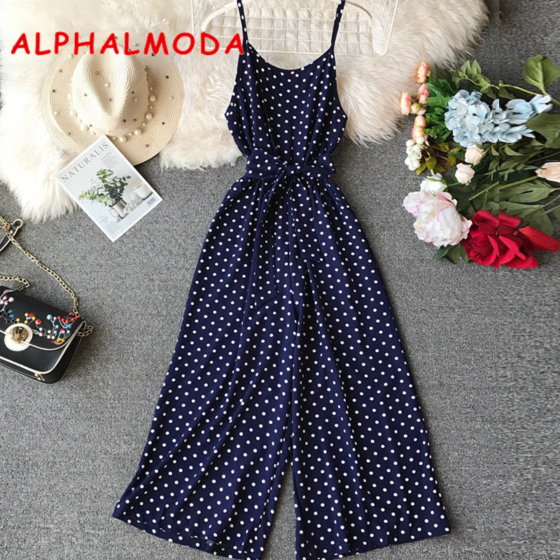 ALPHALMODA 2019 Spring Ladies Vocational Casual Jumpsuit Mid-calf High Waist Women Suspended Polka Dot Rompers