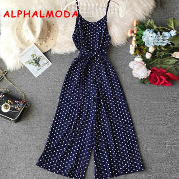 ALPHALMODA 2019 Spring Ladies Vocational Casual Jumpsuit Mid-calf High Waist Women Suspended Polka Dot Rompers - DISCOUNT ITEM  25% OFF All Category