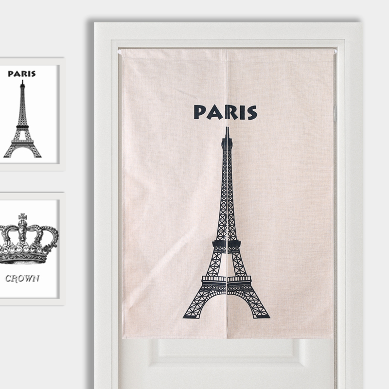 Effiel Tower Crown Glasses Door Curtain Linen Tapestry