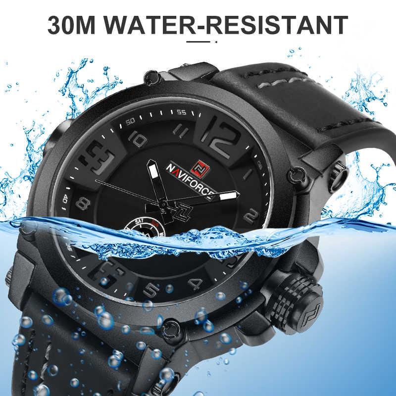 NAVIFORCE haut de gamme marque hommes sport militaire montre à Quartz homme analogique Date horloge bracelet en cuir montre-bracelet Relogio Masculino