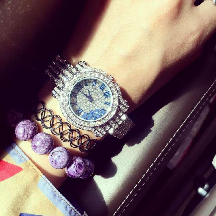 ФОТО New Luxury Brand Ladies Watch Full Rhinostone Dial Sarkling Shining Women Quartz Watch Delicate Stainless Steel Wristwatch OP001