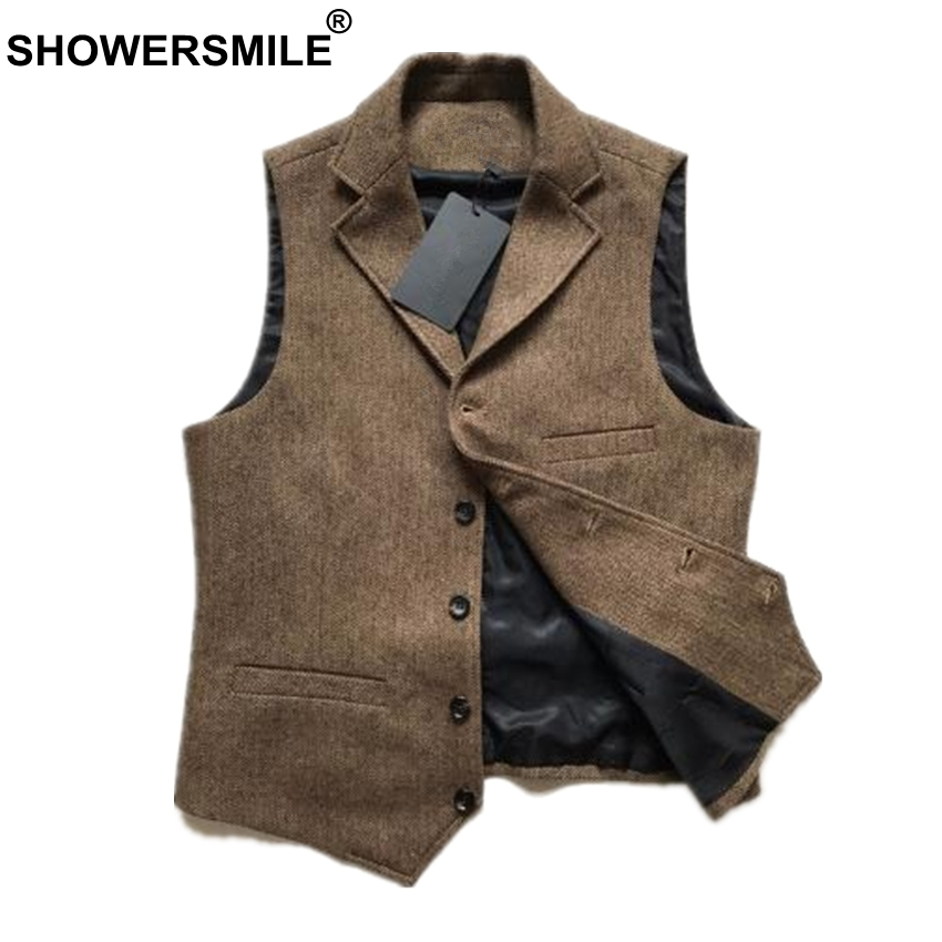 SHOWERSMILE Vintage Tweed Vest Herringbone Striped Suit Vest Light Brown Waistcoat Vest Slim Fit Sleeveless Jacket Gilet Homme