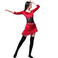 Fashion Women Belly Dance Dress Korean Velvet Stitching Bellydance Practice Dance Wear Bollywood Gypsy Dancing Outfits DC1288