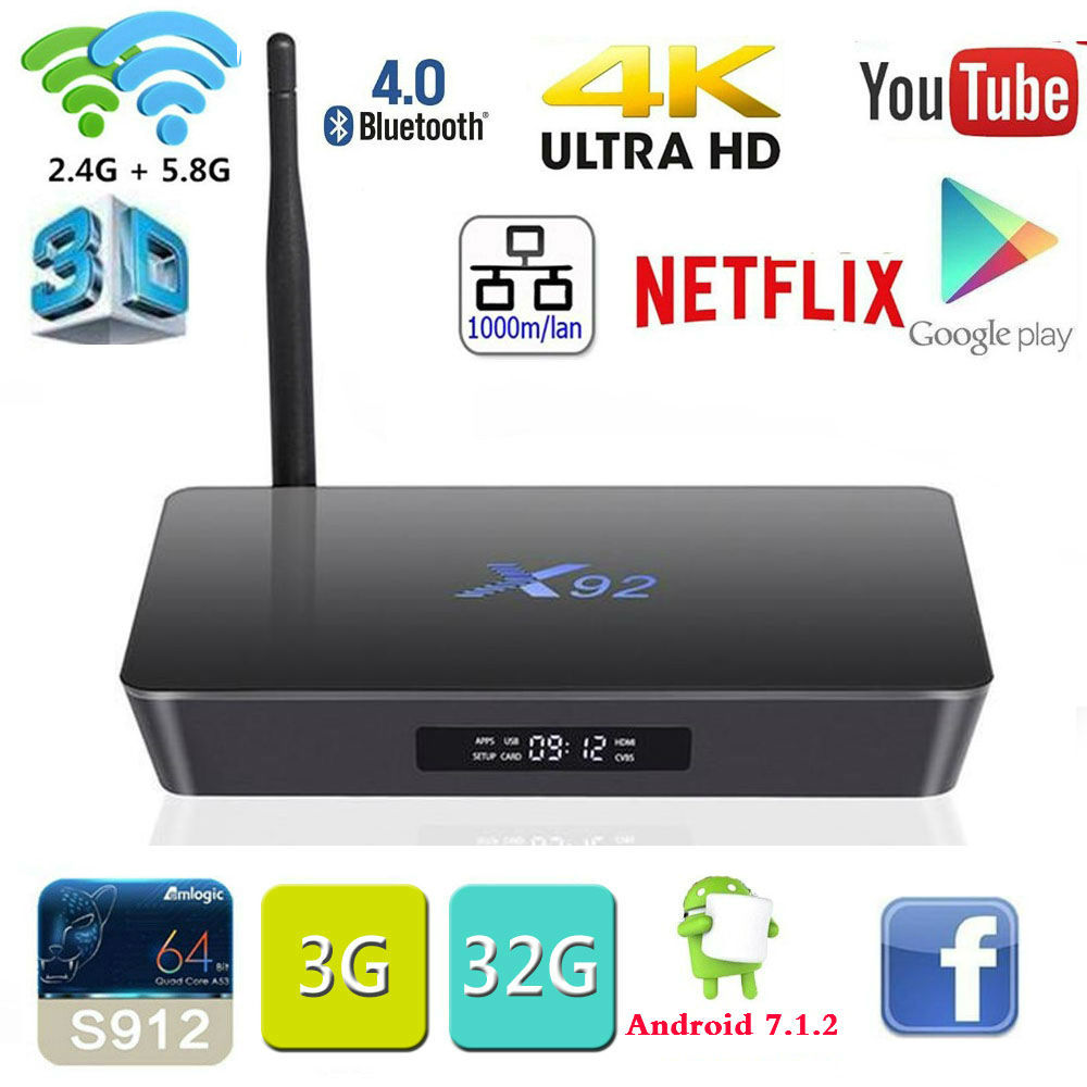 2G/3G 16 GB/32 GB X92 TV caja Amlogic S912 Android 7,1 TV BOX Octa core KD Player Fully Loaded 5G Wifi X92 Smart Set Top Box