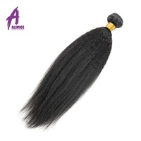 Kinky Straight Brazilian Hair Alimice Hair Non Remy Human Hair Weave Bundles Natural Color 10 26inch Coarse Yaki Hair Weaving