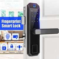 4 in 1 Anti theft Smart Electronic Door Lock Touch Screen Lockbody Fingerprint Password Intelligent Card Mechanical Key Lock