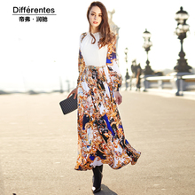 Royal fashion design long dress women's 2017 spring and summer patchwork print slim a-line long-sleeve chiffon full dress female