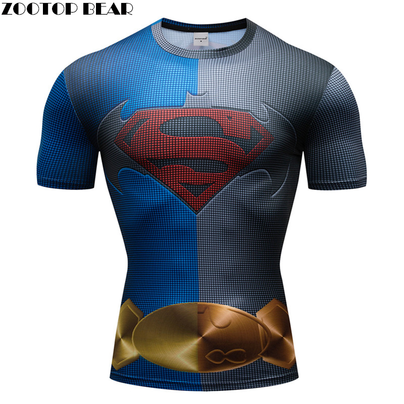 The superman T shirt Crossfit Bodybuilding Slim 3D Print Super Hero Compression Fitness Shirt Quick Dry Breathable Tops Fitness