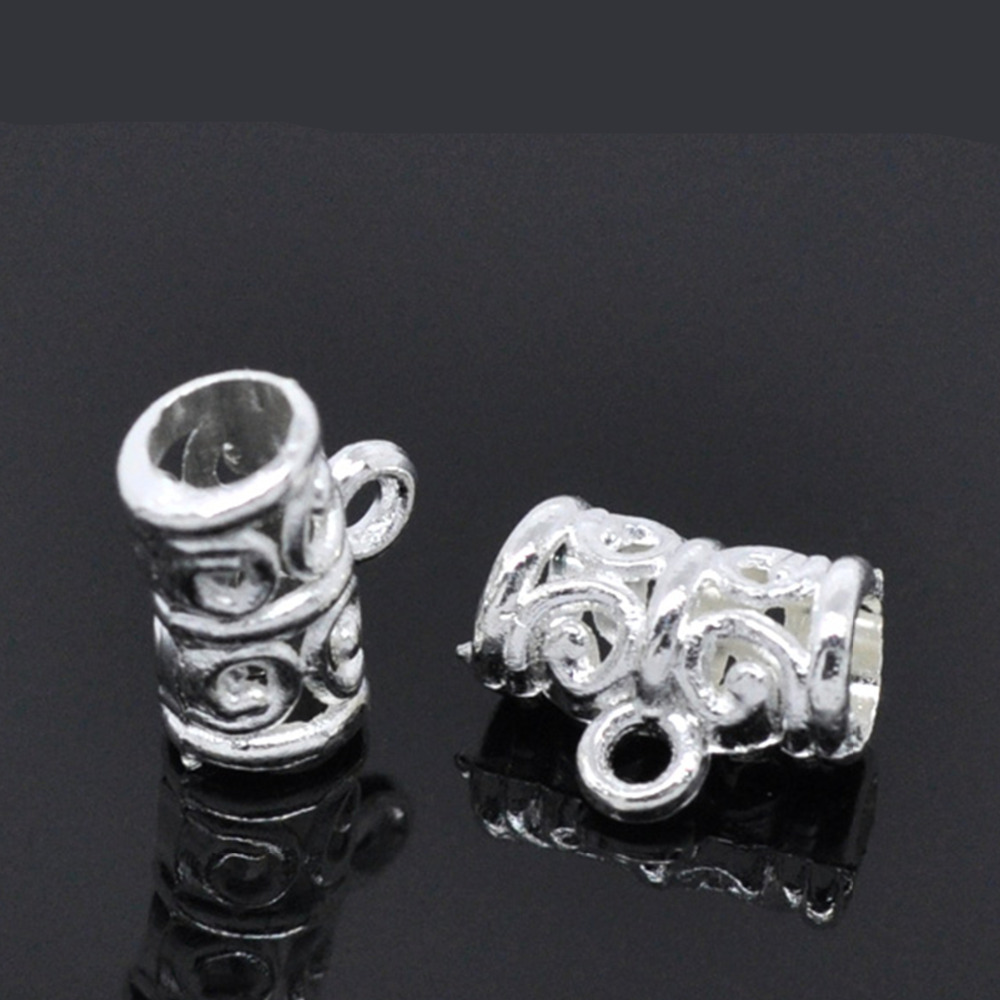 Silver Color Metal Jali Pattern : Doreenbeads zinc metal alloy bails beads tubes silver