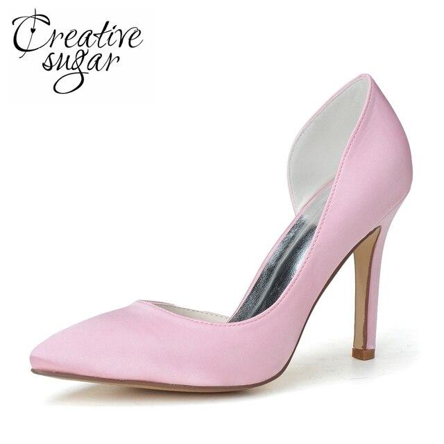 Creativesugar woman pointed toe slim Dorsay bridal wedding party shoes  evening dress pumps pink