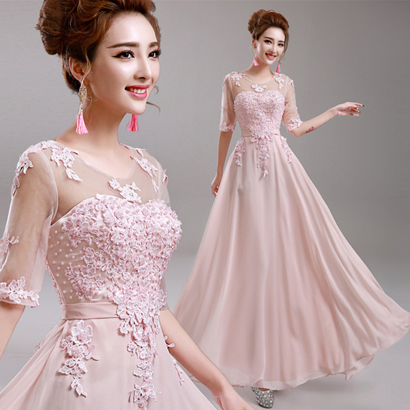New Listing Half Sleeve Female Evening Gown Appliques