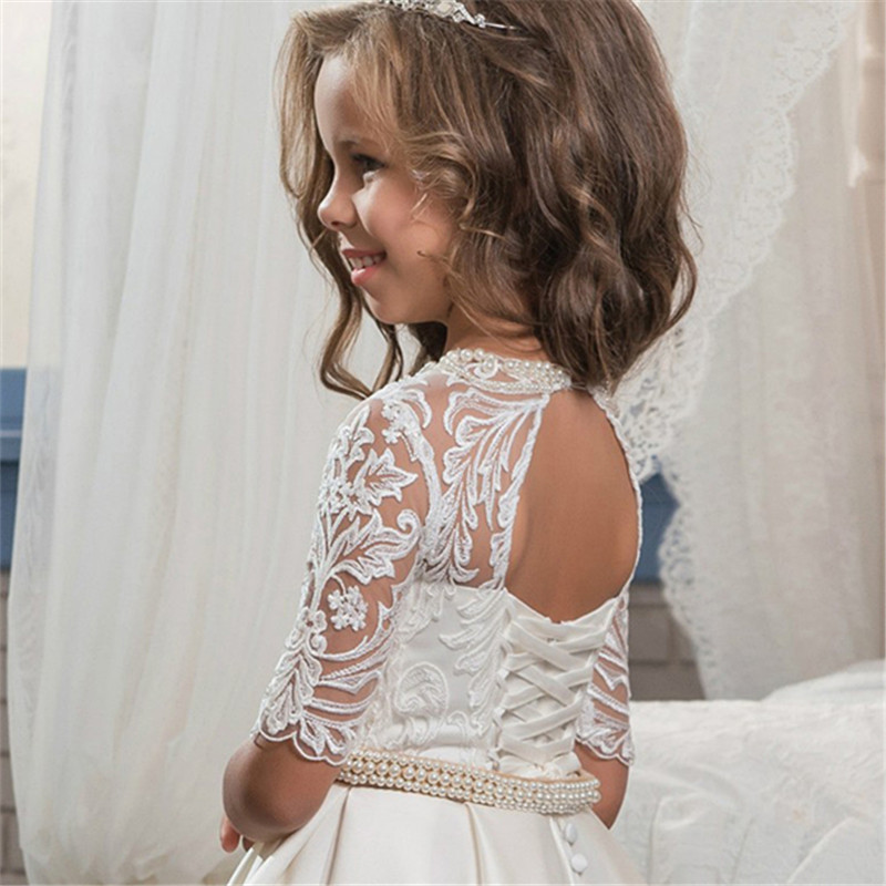New-Flower-Girl-Dresses-Half-Sleeves-O-neck-Beading-Ball-Gown-Solid-Formal-First-Communion-Gowns (1)