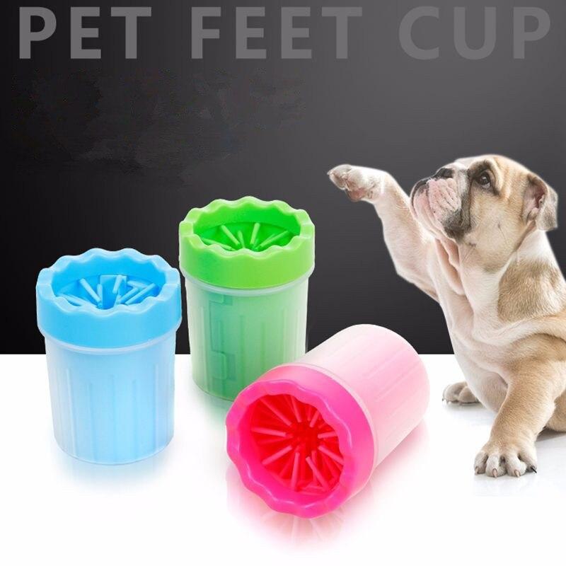 2 tamaños portátil para mascotas arandela de pie copa de silicona suave cerdas del cepillo limpio rápidamente limpieza patas pies embarrados perro pie lavado de herramientas