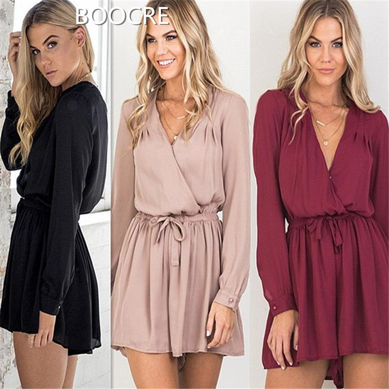 Summer ladies sexy cross V collar tie casual fashion dress three models of color