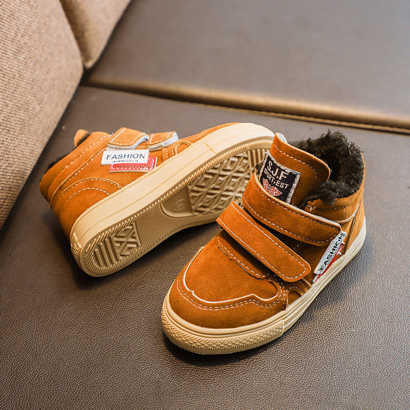 MIAOMIAOSHU Winter Kids Warm Plush Lining Sports Shoes Boys Girls Hook Loop Fashion Sneakers Children Breathable Casual Shoes in Sneakers from Mother Kids