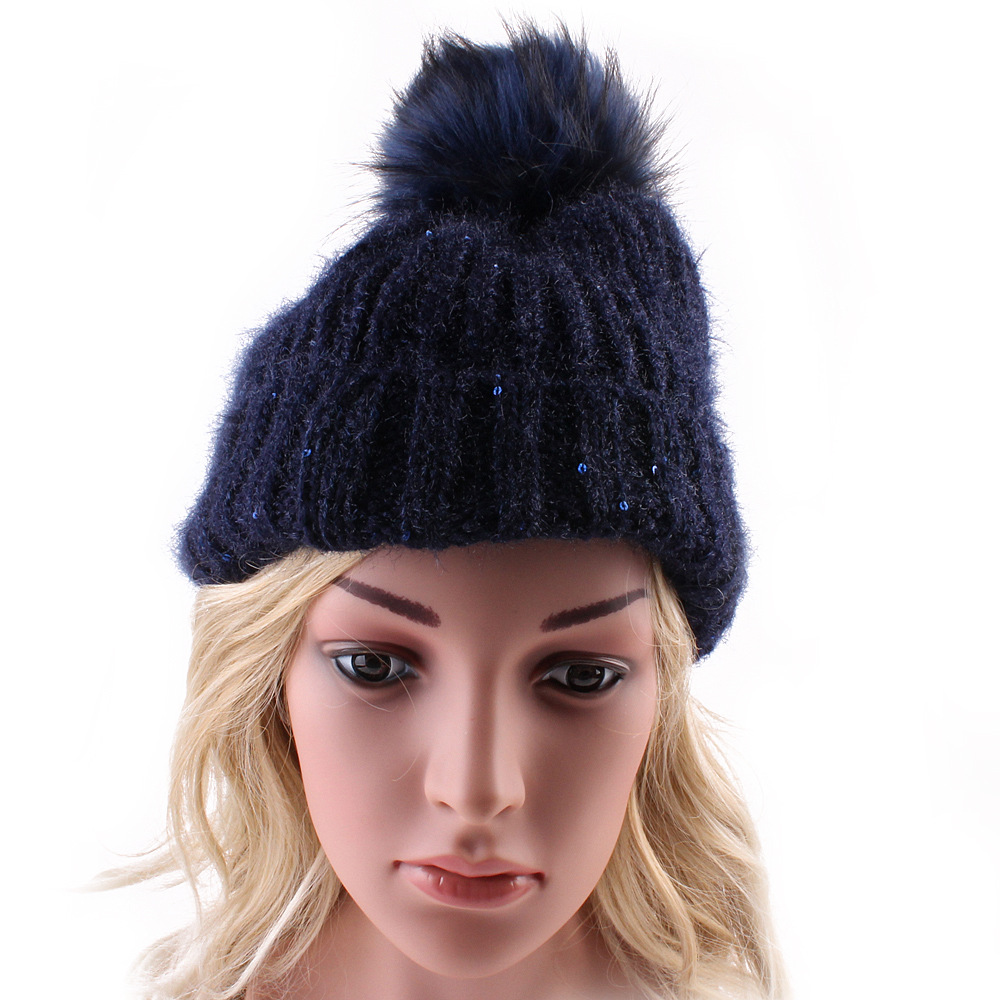 2016 Autumn Winter Women Fashion Warm Wool Knitting  Skullies & Beanies Hats With Fur Ball Solid Color Casual Caps 4 Colors