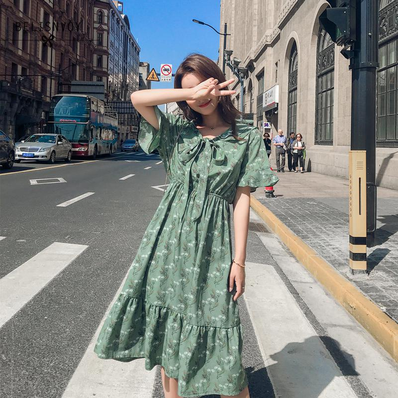 Robe Femme Elegant Floral Printed Big Hem Flounce Ruffle Dress Women Summer Casual Tunic Flare Sleeve Chiffon Dress Vestidos