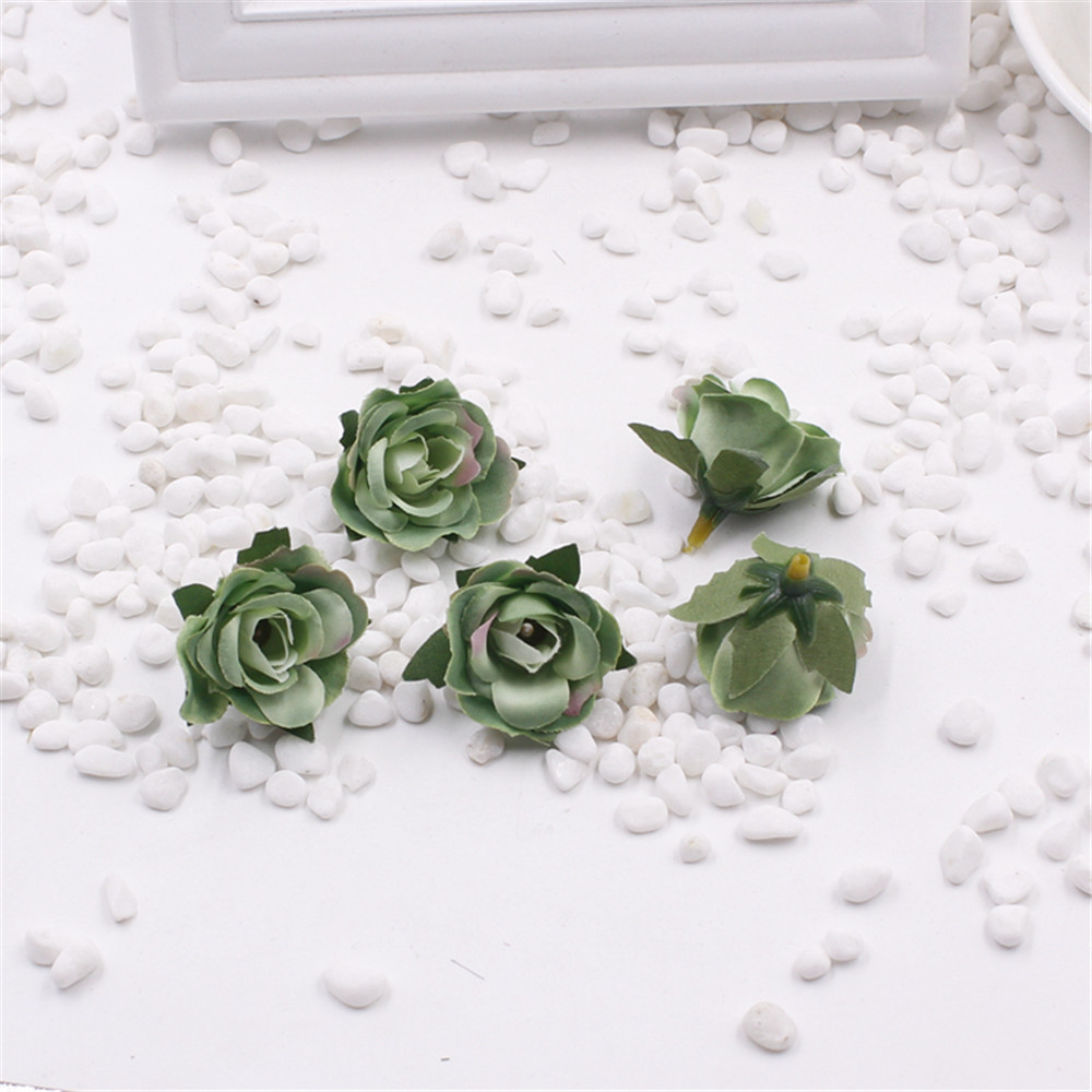 5pieces 3 cm Artificial silk Rose flower Head Scrapbooking Flowers Ball For Wedding Decoration in Artificial Dried Flowers from Home Garden