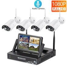 HD 1080P 4CH Беспроводной NVR CCTV Системы 2MP открытый аудио Запись Wi-Fi IP Камера камера наружного видеонаблюдения Kit 7 дюймов ЖК-дисплей