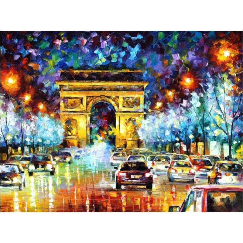 Красота ночная сцена Франция Париж автомобиля цифровой живописи маслом по номерам ручная роспись стены фотографии для Гостиная украшения ...
