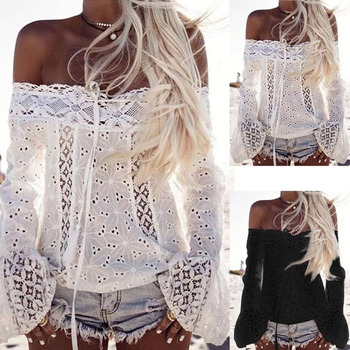 Women Lace Hollow Out Off Shoulder Slash Neck Flare Long Sleeve Loose Blouse Streetwear Feminina Shirts Elegant Blose casual off the shoulder print flare sleeve blouse for women