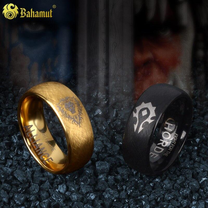 Bijoux pour hommes 8mm WOW tungstène anneau horde alliance anneau pour hommes nouvel an cadeaux pour femmes garçons petit ami or noir couple anneaux