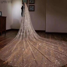 LPTUTTI Luxury sequins New Mantilla Wedding Marry Headdress Accessories long cathedral Bridal Wedding Veil With Comb