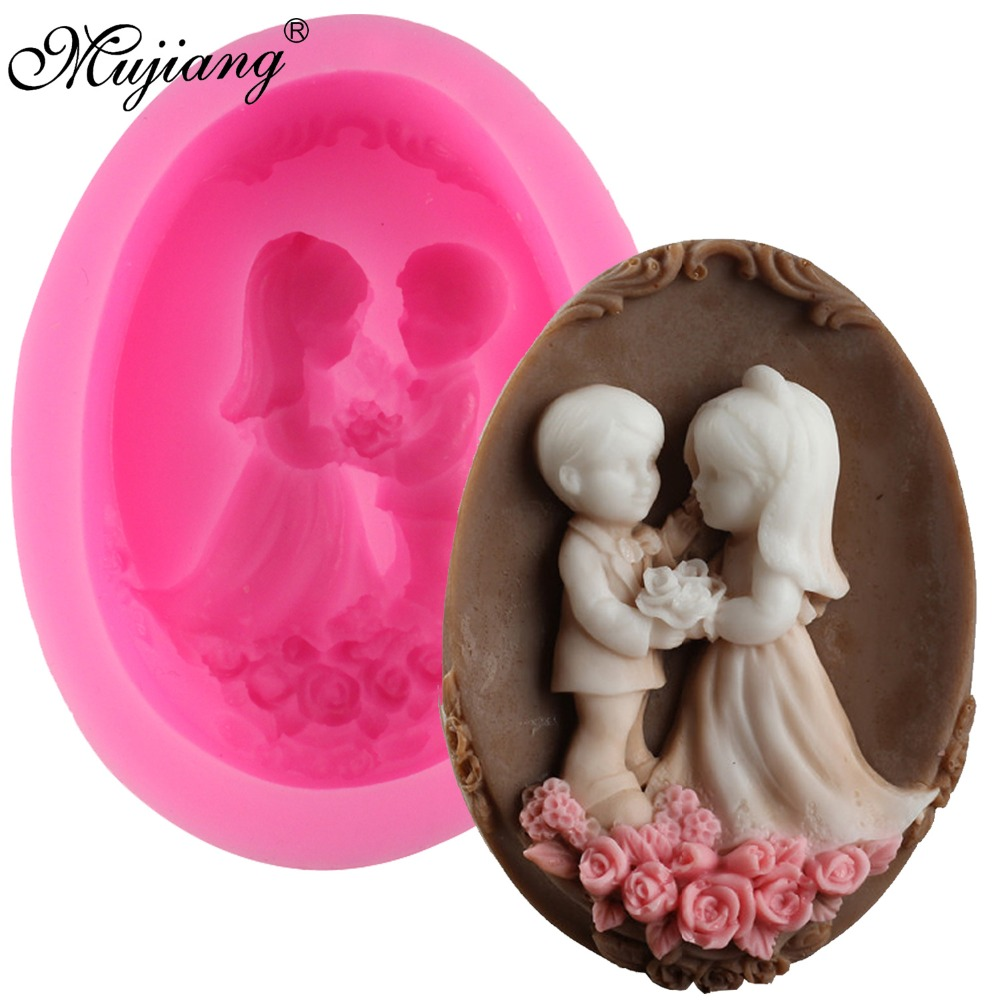 Mujiang Bride Bridegroom Silicone Soap Molds Resin Clay