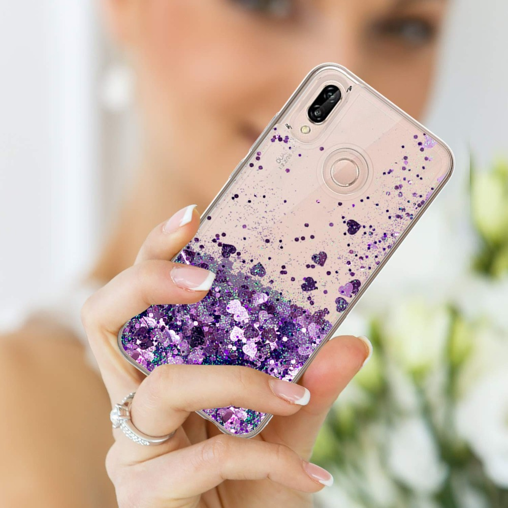 Image 5 - Honor 8A Glitter Liquid Case For HUAWEI Y6 2019 Silicone Coque Huawei Honor 8A Dynamic Qicksand Star Love heart Back Cover-in Fitted Cases from Cellphones & Telecommunications